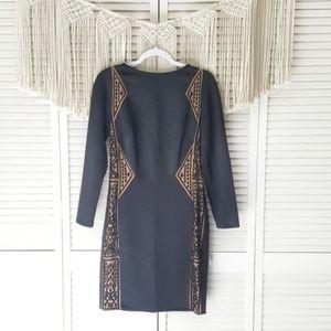 TADASHI SHOJI Black Lace Bodycon Edie Midi Dress M